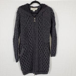 Aran Mor Wool Zip-up sweater•Extra Long•